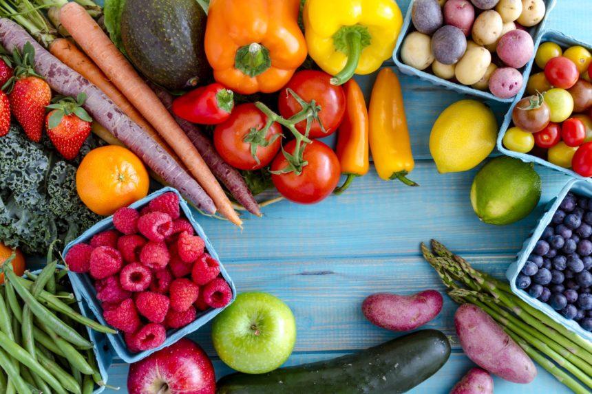 Fruits vegetables raspberries peppers tomatoes