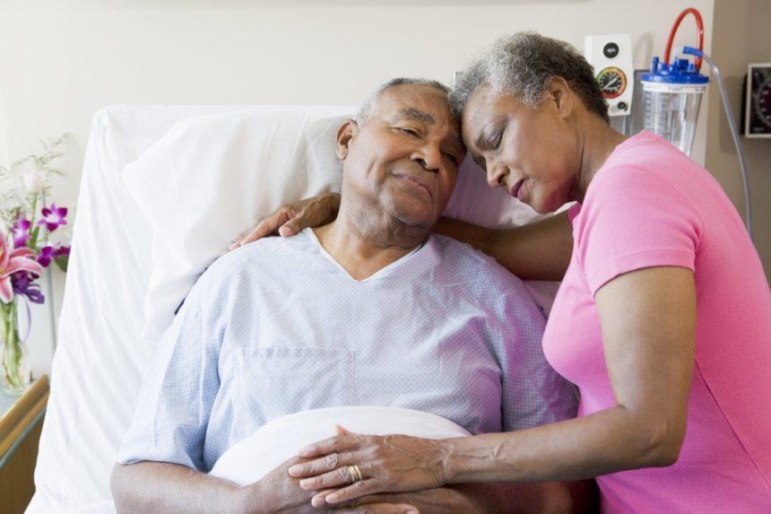 black senior couple hospital sad patient african a