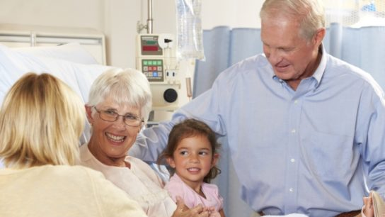 Family visiting patient in hospital