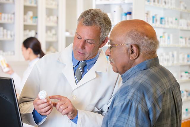 A patient discusses a new oral medication regimen.