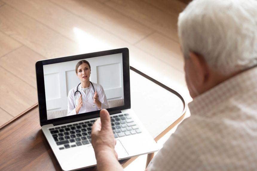 Senior male having a telemedicine visit