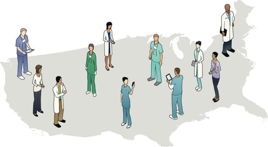 Health care workers standing on US map