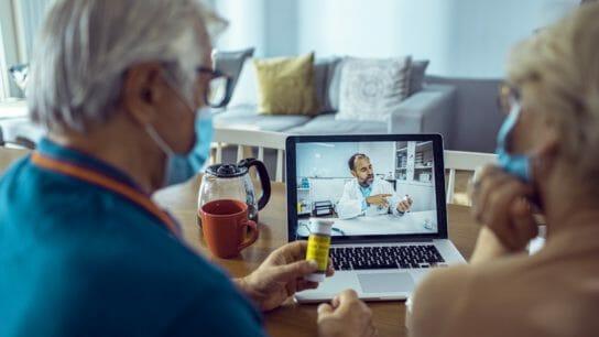 Seniors asking a medication question via telemedicine