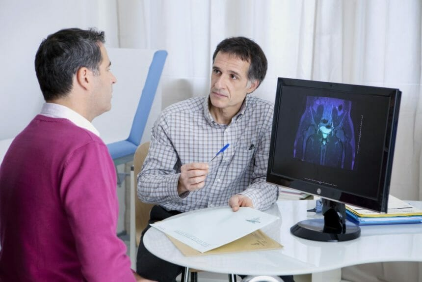 Urology consultation: MRI of a male pelvis showing the bladder and the prostate.